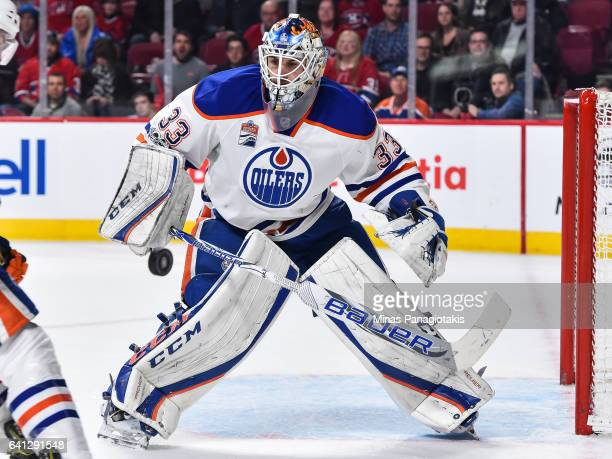 Cam Talbot of the Edmonton Oilers watches the puck during the NHL game against the Montreal Canadiens at the Bell Centre on February 5 2017 in...