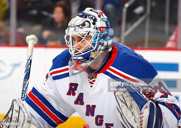 Cam Talbot of the New York Rangers looks on against the New Jersey Devils during the game at the Prudential Center on April 7 2015 in Newark New...