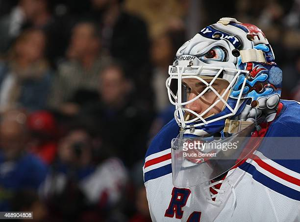 Cam Talbot of the New York Rangers tends net against the New Jersey Devils at the Prudential Center on April 7 2015 in Newark New Jersey The Rangers...