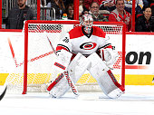 Cam Ward of the Carolina Hurricanes crouches in the crease to protect the net during their NHL game against the Nashville Predators at PNC Arena on...