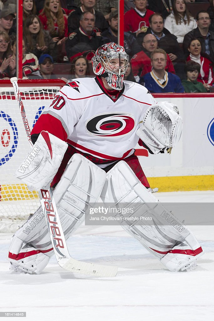 Cam Ward #30 of the Carolina Hurricanes guards his net during an NHL game against the Ottawa Senators at Scotiabank Place on February 7, 2013 in Ottawa, Ontario, Canada.