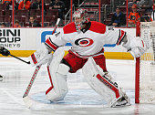 Cam Ward of the Carolina Hurricanes in action against the Philadelphia Flyers on April 9 2015 at the Wells Fargo Center in Philadelphia Pennsylvania