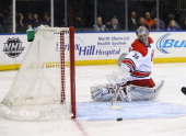 Cam Ward of the Carolina Hurricanes in action against the New York Rangers during their game at Madison Square Garden on April 8 2014 in New York City