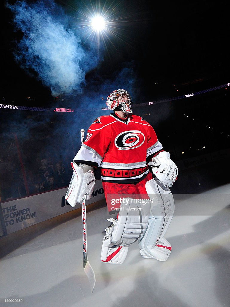 Cam Ward #30 of the Carolina Hurricanes is introduced before a game against the Tampa Bay Lightning at PNC Arena on January 22, 2013 in Raleigh, North Carolina.