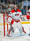 Cam Ward of the Carolina Hurricanes locates the puck against the San Jose Sharks during an NHL game on February 7 2015 at SAP Center in San Jose...