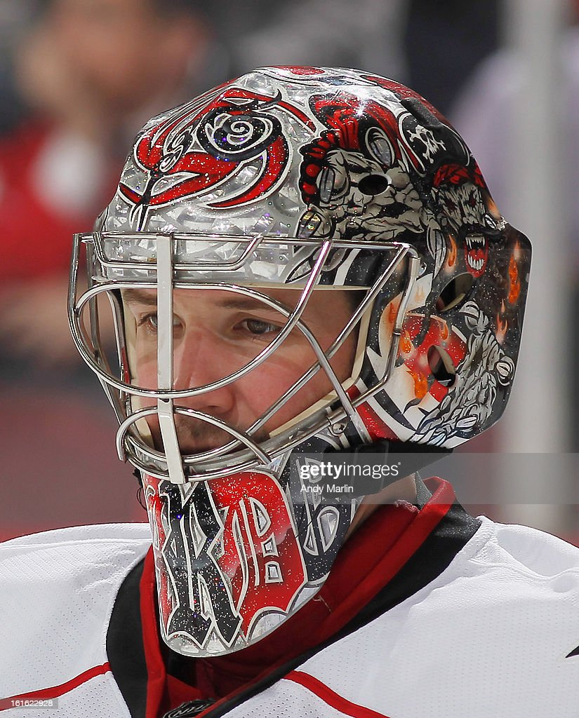 Cam Ward #30 of the Carolina Hurricanes looks on against the New Jersey Devils during the game at the Prudential Center on February 12, 2013 in Newark, New Jersey.