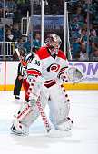 Cam Ward of the Carolina Hurricanes protects the net against the San Jose Sharks at SAP Center on October 24 2015 in San Jose California