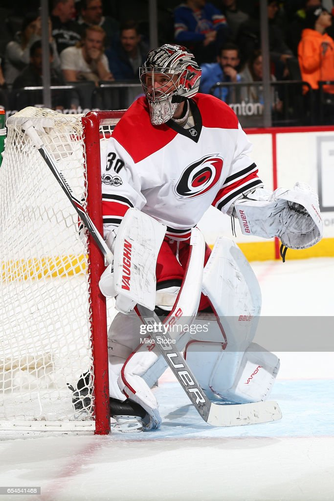 Cam Ward #30 of the Carolina Hurricanes skates against the New York Islanders skates against the Carolina Hurricanes at the Barclays Center on March 13, 2017 in Brooklyn borough of New York City. Carolina Hurricanes defeated the New York Islanders 8-4.