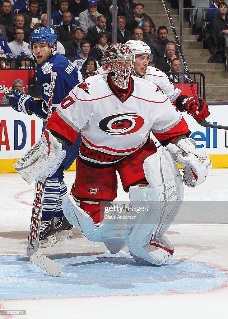 Cam Ward #30 of the Carolina Hurricanes skates back into position in a game against the Toronto Maple Leafs on February 4, 2013 at the Air Canada Centre in Toronto, Canada. The Hurricanes defeated the Leafs 4-1.