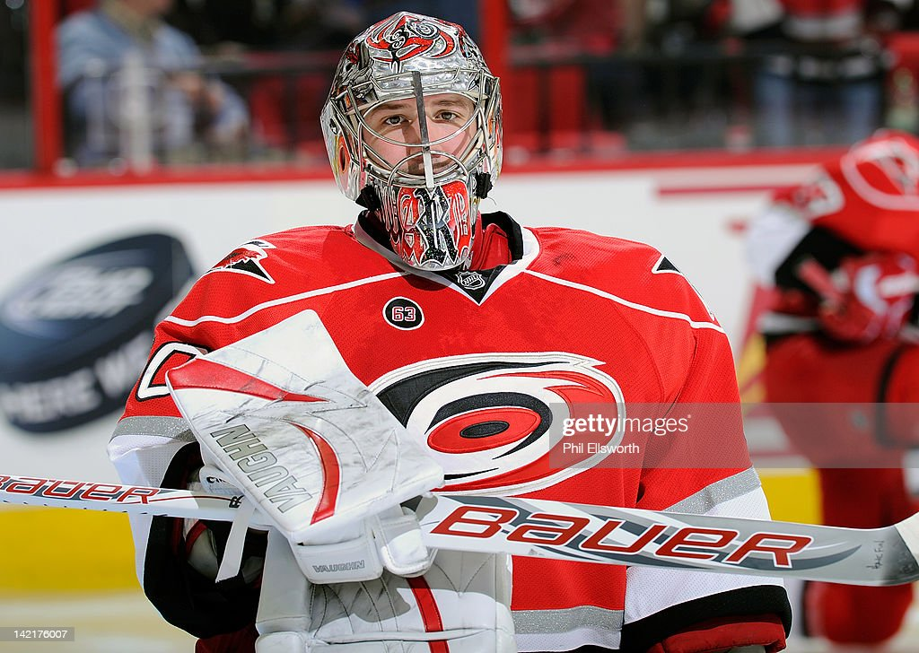 <a gi-track='captionPersonalityLinkClicked' href=/galleries/search?phrase=Cam+Ward&family=editorial&specificpeople=453216 ng-click='$event.stopPropagation()'>Cam Ward</a> #30 of the Carolina Hurricanes stretches out at the beginning of a period during an NHL game against the St. Louis Blues on March 15, 2012 at PNC Arena in Raleigh, North Carolina.