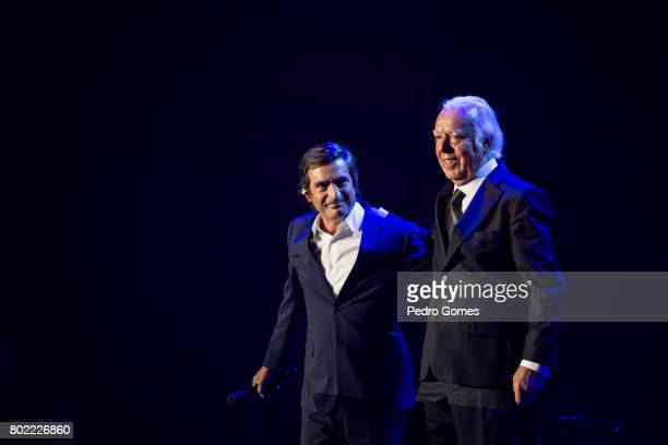Camane and Carlos do Carmo perform during Juntos por Todos solidarity concert for the victims of the forest fires in the Pedrogao Grande region of...
