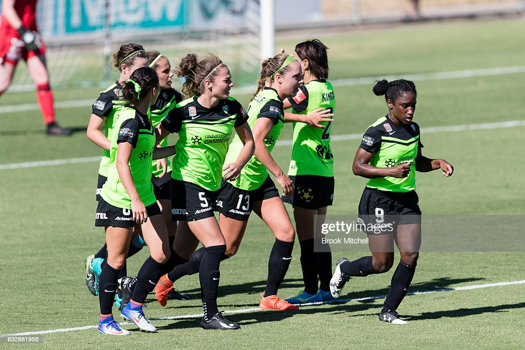 Camberra United's Ashleigh Sykes celebrates after scoring a penalty goal during the round 14 W-League match between Canberra United and Melbourne Victory at McKellar Park on January 28, 2017 in Canberra, Australia.