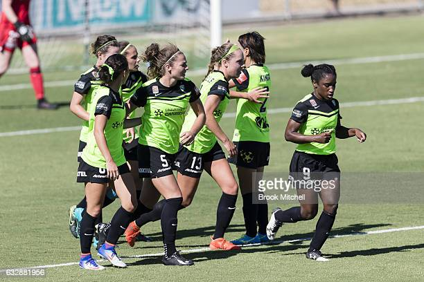 Camberra United's Ashleigh Sykes celebrates after scoring a penalty goal during the round 14 WLeague match between Canberra United and Melbourne...
