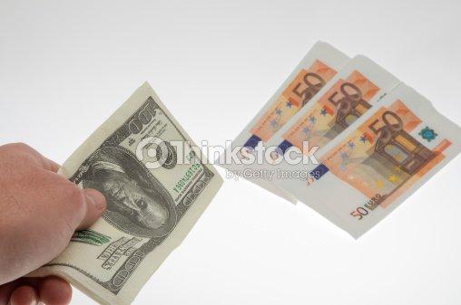 Cambio Valuta Dollari Euro Stock Photo