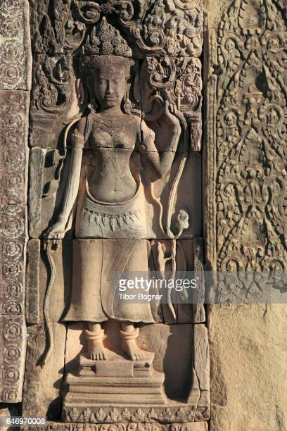 Cambodia, Angkor, Angkor Thom, The Bayon, bas-relief, apsara figure,