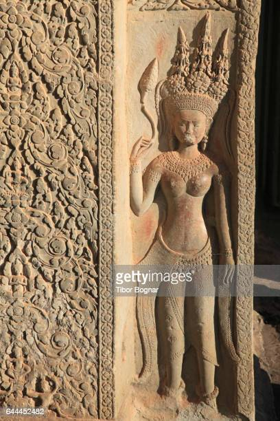 Cambodia, Angkor, Angkor Wat, bas-relief, Apsara figure,