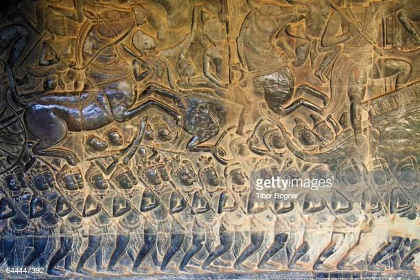 Cambodia, Angkor, Angkor Wat, bas-relief, Battle of Kurukshetra,