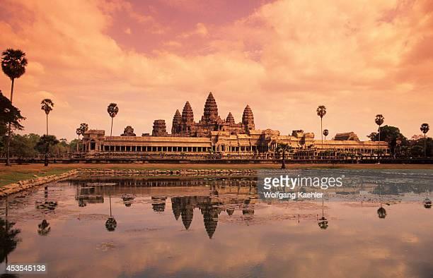 Cambodia Angkor Angkor Wat Reflecting In Pond