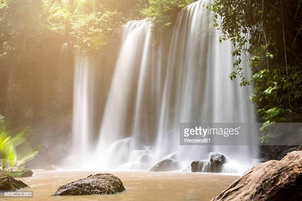 Cambodia, Nationalpark Phnom Kulen, view to waterfalls