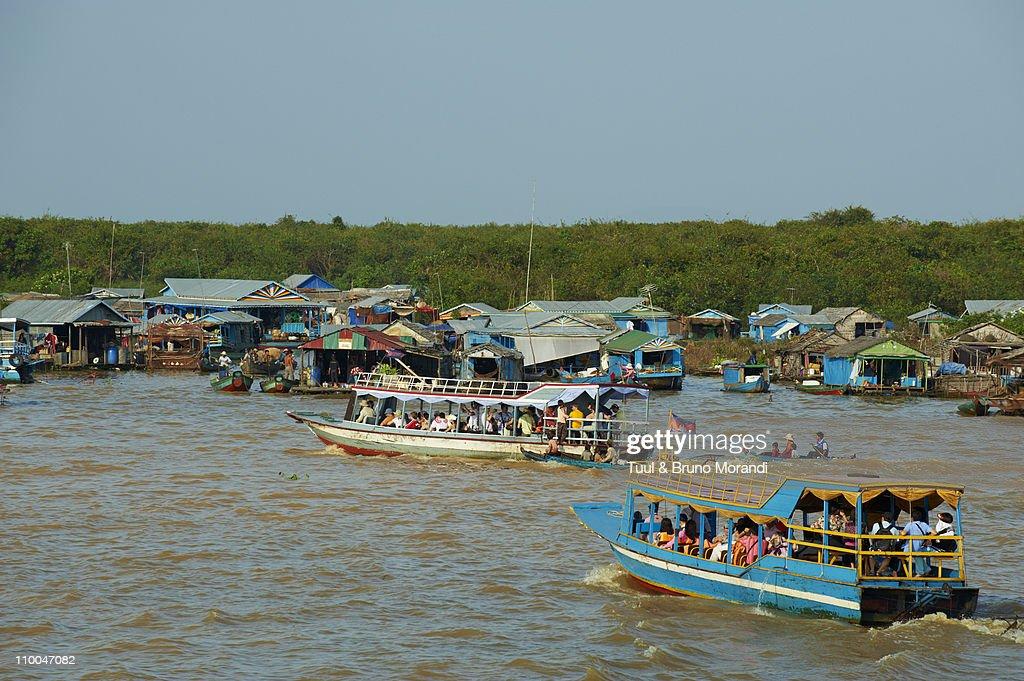 Cambodia, Tonle Sap lake, floating village : Stock Photo