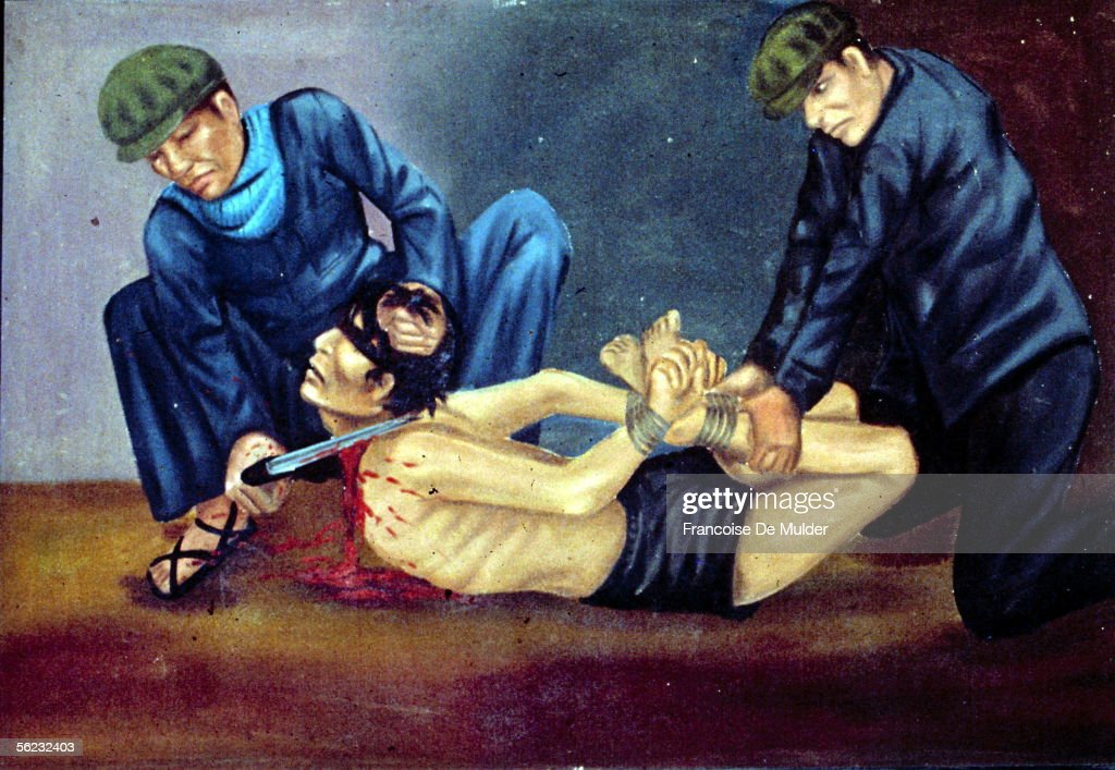 Cambodia. Torture of civilians by the Khmers Rouges. Painting of the 'Tuol Sleng', former jail transformed in museum of genocide. By Nath Vann. Phnom Penh, November 1991. FDM
