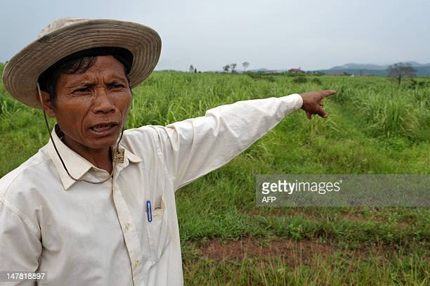 CambodiaagriculturesugareconomytradeFOCUS by Suy Se This photo taken on May 17 2012 shows Cambodian community leader Teng Kao showing a sugarcane...