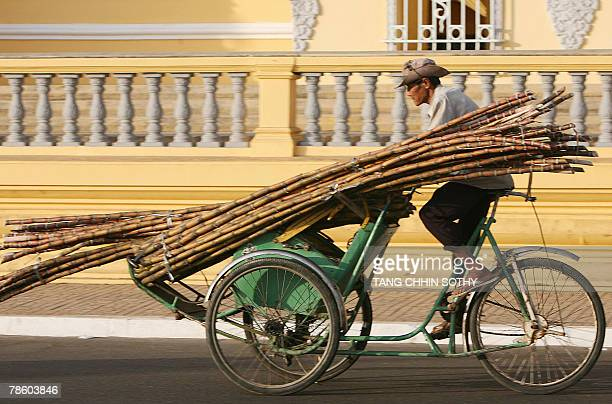A Cambodian cyclo driver cycles his three wheel vehicle loaded with sugar canes along a street in front of the Royal Palace in Phnom Penh 21 December...