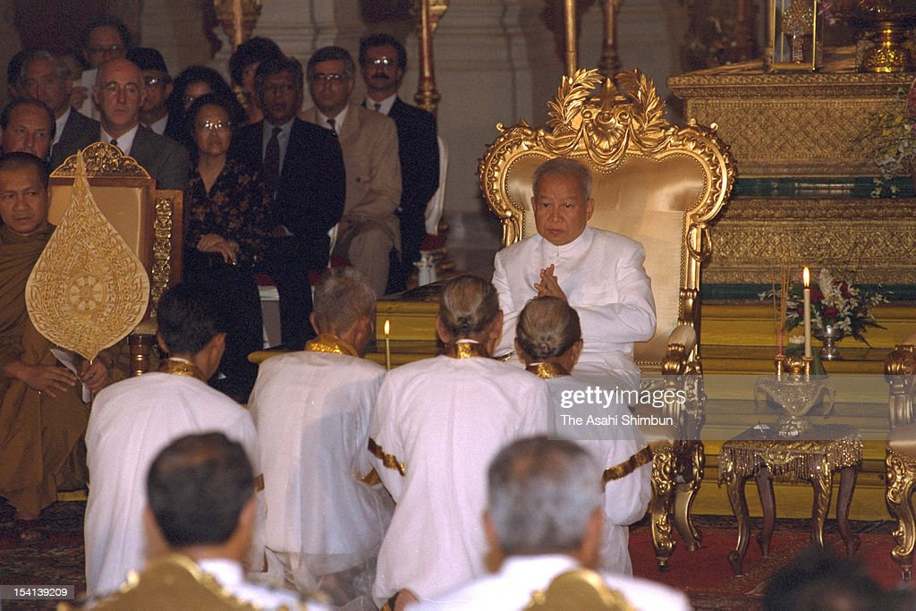 Cambodian King <a gi-track='captionPersonalityLinkClicked' href=/galleries/search?phrase=Norodom+Sihanouk&family=editorial&specificpeople=210861 ng-click='$event.stopPropagation()'>Norodom Sihanouk</a> attends his coronation ceremony on September 24, 1993 in Phnom Penh, Cambodia.