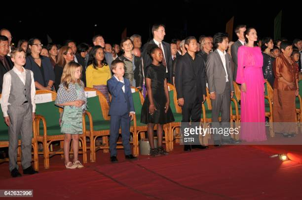 Cambodian Minister of Culture and Fine Arts Phoeung Sackona Hollywood star Angelina Jolie and her children listen to Cambodian national anthem during...