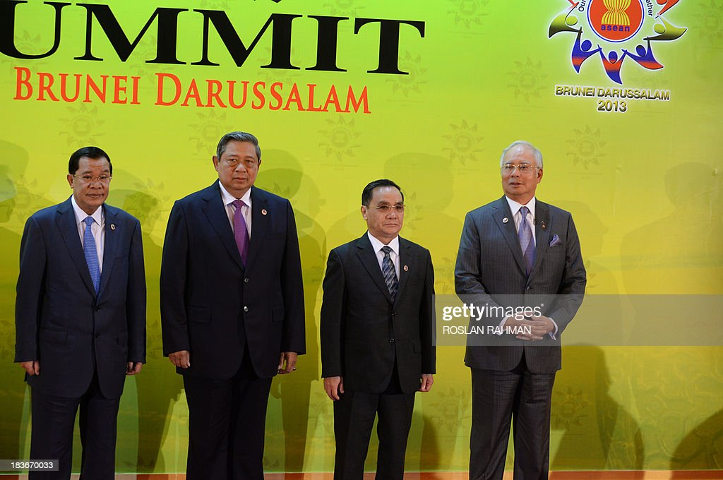 Cambodian Prime Minister Hun Sen, Indonesia's President Susilo Bambang Yudhoyono, Laos Prime Minister Thongsing Thammavong and Malaysian Prime Minister Najib Razak pose for photos at the 23rd summit of the Association of Southeast Asian Nations (ASEAN) in Bandar Seri Begawan on October 9, 2013. Festering territorial disputes provided the backdrop for an Asian summit kicking off on October 9 with China flexing its diplomatic muscle in the absence of a grounded US President Barack Obama.