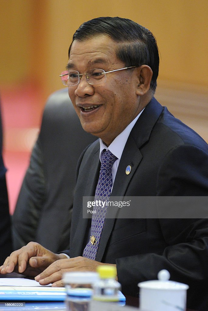 Cambodian Prime Minister <a gi-track='captionPersonalityLinkClicked' href=/galleries/search?phrase=Hun+Sen&family=editorial&specificpeople=224084 ng-click='$event.stopPropagation()'>Hun Sen</a> is seen during a signing ceremony at Great Hall of the People in Beijing on April 8, 2013 in China.