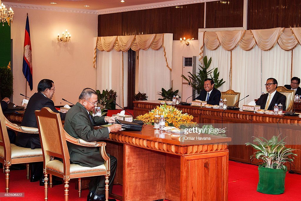 Cambodian Prime Minister Hun Sen Sam Rainsy the President of the opposition Cambodia National Rescue Party and Kem Sokha VicePresident of the CNRP...