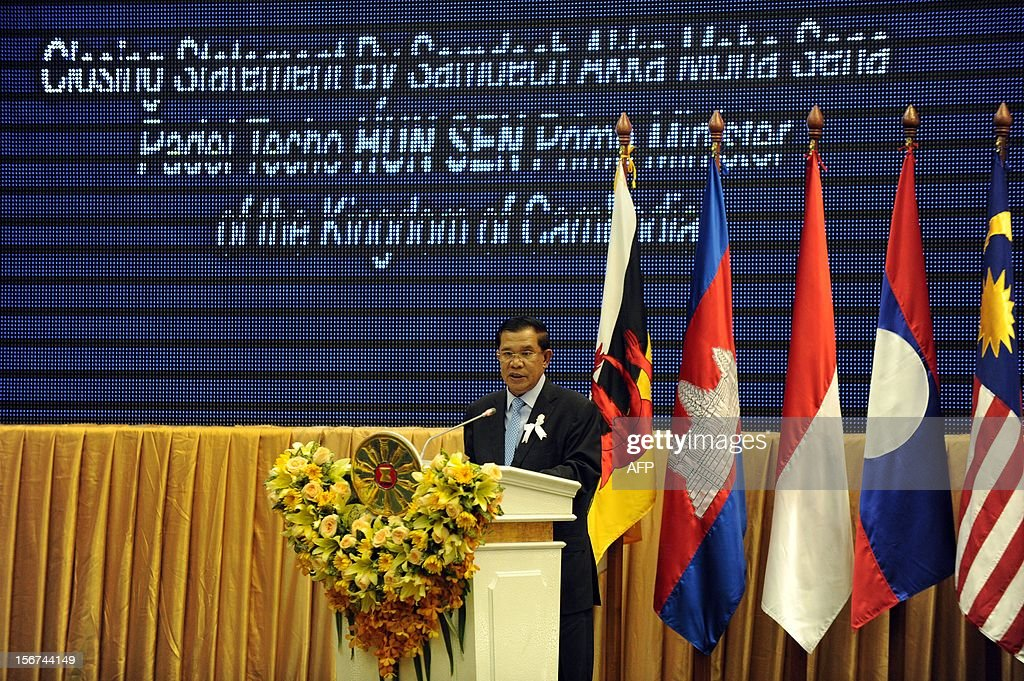 Cambodian Prime Minister Hun Sen speaks during the closing ceremony at the Peace Palace in Phnom Penh on November 20, 2012. The Association of Southeast Asian Nations (ASEAN) nations were set to officially launch negotiations to create an enormous free trade pact with China, Japan, India, South Korea, Australia and New Zealand.