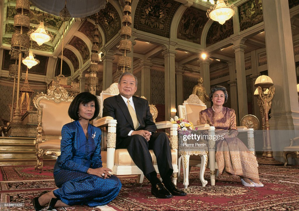 Cambodian Prince Norodom Sihanouk his wife Princess Monique and his daughter Buppha Devi in his Cambodian Palace