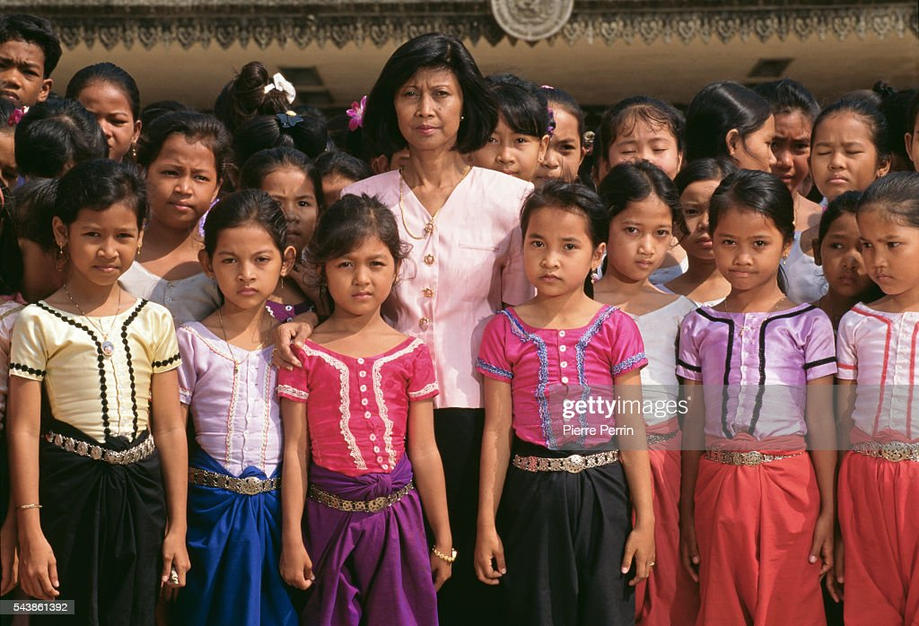 Cambodian Prince Norodom Sihanouk's daughter Buppha Devi with Cambodian children