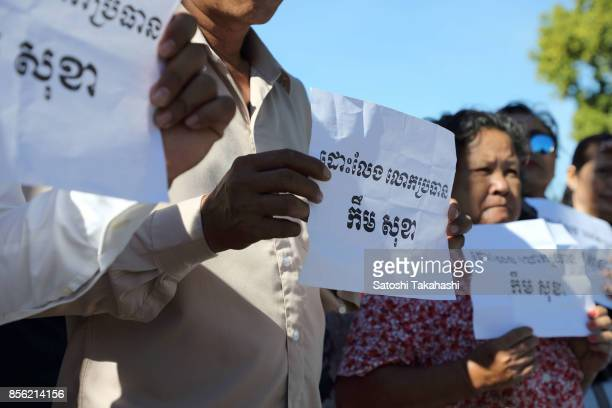 Cambodian protesters calling for the release of Cambodia's main opposition Cambodia National Rescue Party President Kem Sokha who was arrested by...