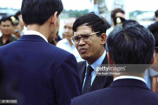 Cambodian Second Prime Minister Hun Sen is seen on arrival on September 1 1994 in Phnom Penh Cambodia