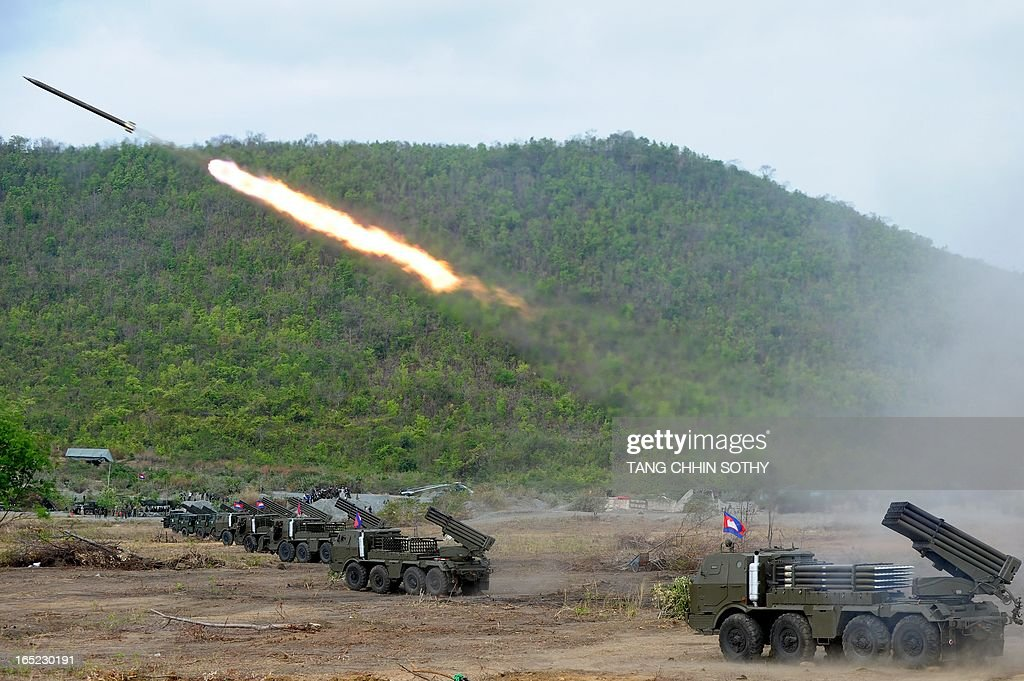Cambodian soldiers test fire a multiple rocket launchers (BM21) at a military base in Kampong speu province, some 70 kilometers west of Phnom Penh on April 2, 2013. Cambodia's military drill of multiple rockets launchers (BM21) and artillery 130-mm on April 2, is aimed at strengthening its national defence ability.