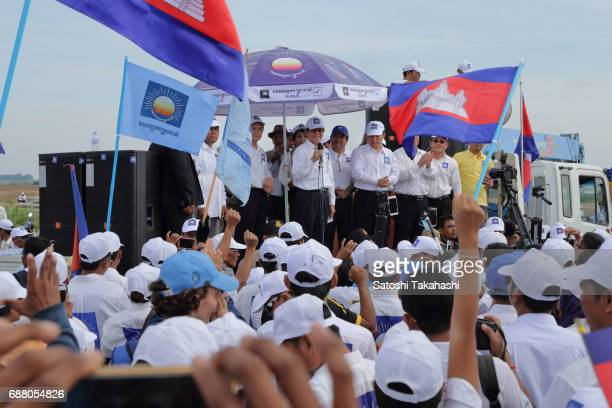 Cambodia's main opposition Cambodia National Rescue Party President Kem Sokha makes a speech during a rally on the first day of campaigning for the...