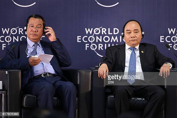 Cambodia's Prime Minister Hun Sen and Vietnams Prime Minister Nguyen Xuan Phuc attend the opening ceremony of World Economic Forum on Mekong region...