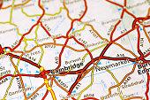 Area of Cambridge (England) on a map
