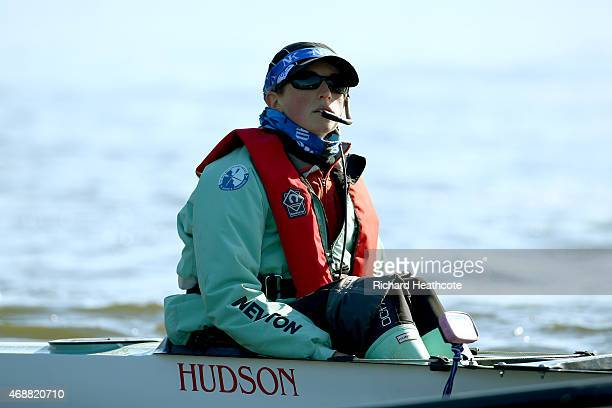Cambridge cox Rosemary Ostfeld looks on during a training outting ahead of the Newton Women's University Boat Race on The River Thames on April 7...