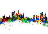 Watercolor art print of the Skyline of Cambridge England