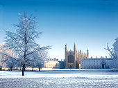 Kings College from 'The Backs' in Cambridge, after snow fall on a crisp, winter morning.