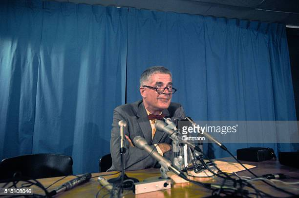 Closeups of Archibald Cox Harvard Law Professor withor without glasses newly named Watergate prosecutor during press conference at Harvard