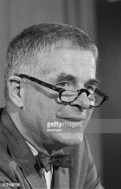 Harvard Law Professor Archibald Cox looks over the top of his glasses during a press conference in Harvard University News Office after being named...