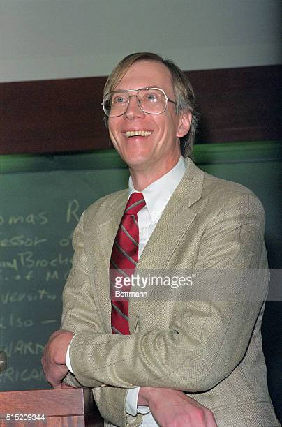 Thomas Cech of the University of Colorado shown at the Whitehead Institute for Biomedical Research where he delivered a lecture is all smiles after...