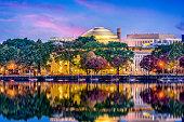 Cambridge, Massachusetts, USA skyline at twilight.