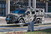 Cambridge Police SWAT team arrive at Harvard University in a armored vehicle following a bomb threat that was made on campus on November 16 2015 in...