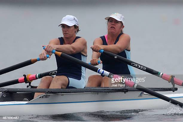 Cambridge Rowing Club women's club double sculls during the North Island Club Championships at Lake Karapiro on February 8 2014 in Cambridge New...